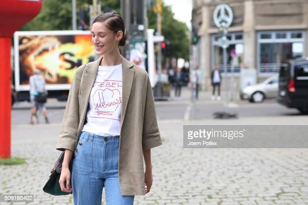Franzi Mueller wearing Massimo Dutti jacket Celine bag and Malaika Raiss Tshirt is seen during the MercedesBenz Fashion Week Berlin Spring/Summer...