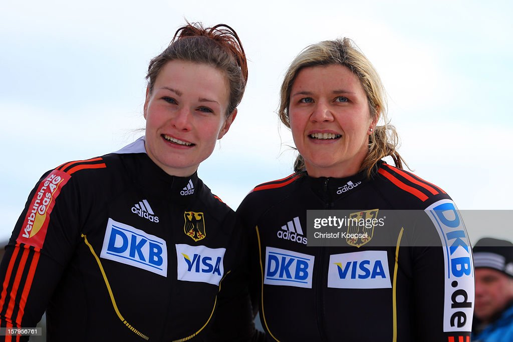 Franziska Bertels and Sandra Kiriasis of Germany look dejected after their seventh place during the two women's bob competition during the FIBT Bob...
