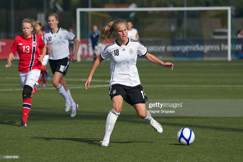 Franziska Gieseke of Germany in action during the Girls Friendly match between Norway U16 and Germany U16 at the UKI Arena on September 5, 2013 in Jessheim, Norway.