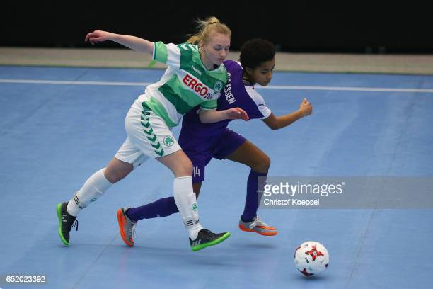 Franziska Gumbrecht of SpVgg Greuther Fuerth challenges Shelbi Appiah of SGS Essen during the C Junior Girl's German Futsal Championship premilary...