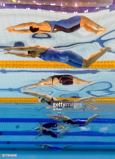 Franziska Hentke of Germany and Yufei Zhang of China compete during the Women's 200m Butterfly final on day fourteen of the Budapest 2017 FINA World...