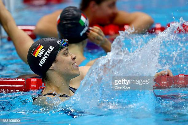 Franziska Hentke of Germany celebrates winning the Women's 200m Butterfly Final on day fourteen of the 33rd LEN European Swimming Championships 2016...