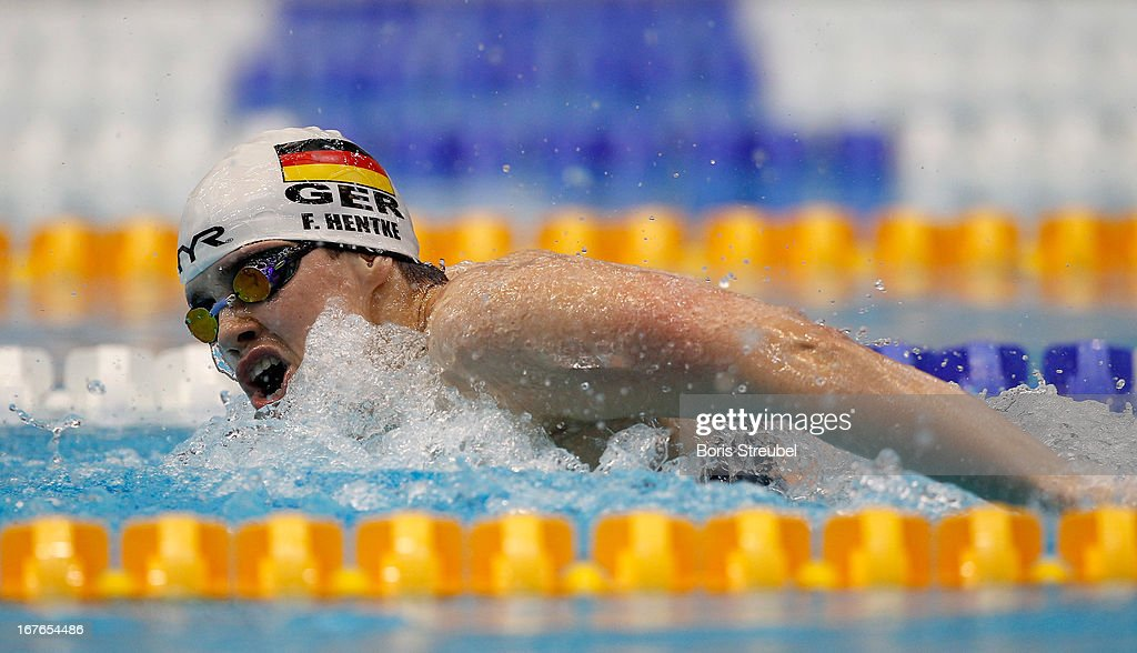 Franziska Hentke of SC Magdeburg competes in the women's 200m butterfly A final during day two of the German Swimming Championship 2013 at the Eurosportpark on April 27, 2013 in Berlin, Germany.