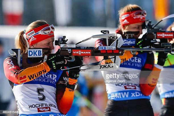 Franziska Hildebrand of Germany competes during the IBU Biathlon World Cup Men's and Women's Pursuit on December 14 2014 in Hochfilzen Austria