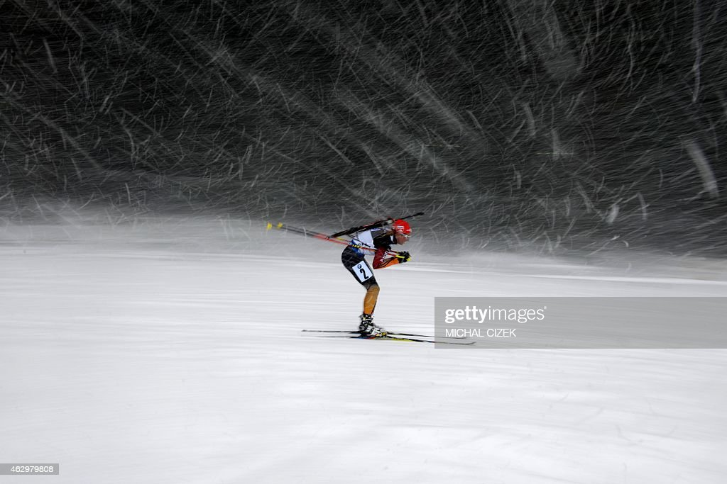 Franziska Hildebrand of Germany competes during the Women 10km pursuit competition of the IBU Biathlon World Cup in Nove Mesto Czech Republic on...