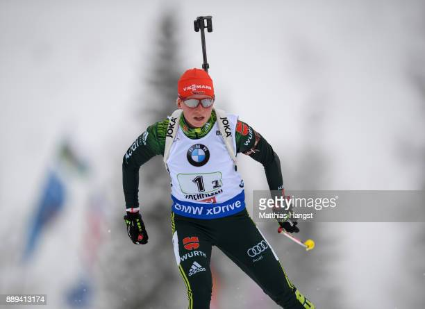 Franziska Hildebrand of Germany competes during the Women's 4x 6km relay competition of the BMW IBU World Cup Biathlon on December 10 2017 in...