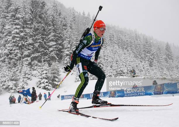 Franziska Hildebrand of Germany competes in the 10 km Women's Pursuit during the BMW IBU World Cup Biathlon on December 0 2017 in Hochfilzen Austria