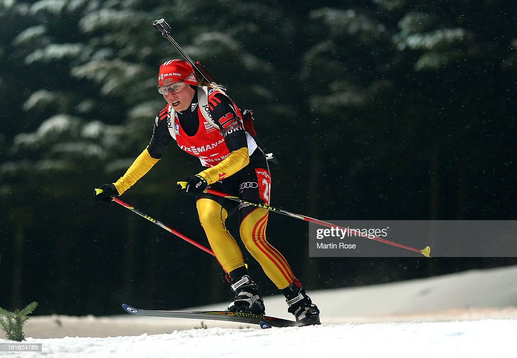 Franziska Hildebrand of Germany competes in the Women's 15km Individual during the IBU Biathlon World Championships at Vysocina Arena on February 13, 2013 in Nove Mesto na Morave, Czech Republic.