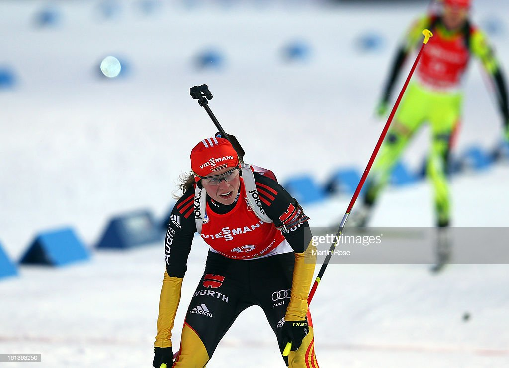 Franziska Hildebrand of Germany reacts after crossing the finidh line in the women's 10km pursuit event during the IBU Biathlon World Championships at Vysocina Arena on February 10, 2013 in Nove Mesto na Morave, Czech Republic.