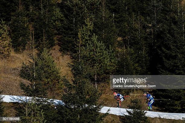 Franziska Hildebrand of Germany takes 2nd place during the IBU Biathlon World Cup Men's and Women's Relay on December 13 2015 in Hochfilzen Austria
