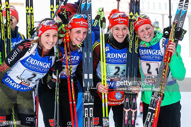 Franziska HildebrandMaren Hammerschmidt Vanessa Hinz Franziska Preuss of Germany takes 2nd place during the IBU Biathlon World Cup Men's and Women's...