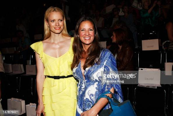 Franziska Knuppe and Dana Schweiger sit in front row during the Laurel Show during the MercedesBenz Fashion Week Spring/Summer 2013 on July 5 2012 in...