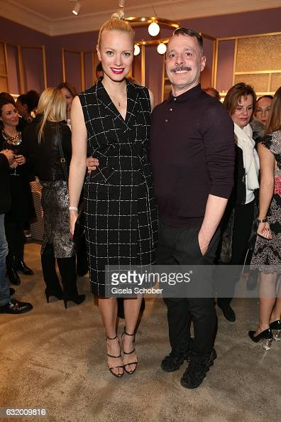 Franziska Knuppe and Designer Johnny Talbot during the Talbot Runhof boutique opening at Schlueterstrasse on January 18 2017 in Berlin Germany