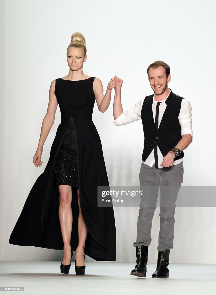<a gi-track='captionPersonalityLinkClicked' href=/galleries/search?phrase=Franziska+Knuppe&family=editorial&specificpeople=209268 ng-click='$event.stopPropagation()'>Franziska Knuppe</a> and designer Stephan Pelger walk the runway at the Stephan Pelger Show during the Mercedes Benz Fashion Week Autumn/Winter 2011 at Bebelplatz on January 22, 2011 in Berlin, Germany.