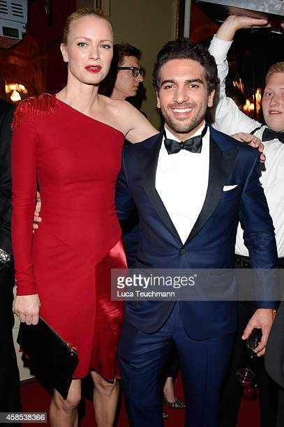 Franziska Knuppe and Elyas M'Barek are seen at the after show party of the GQ Men Of The Year Award 2014 after show party at Komische Oper on...