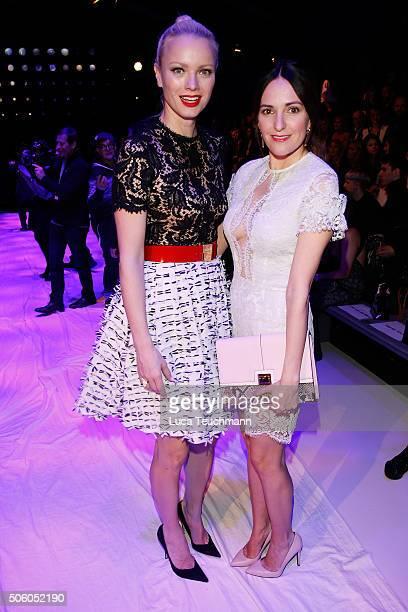 Franziska Knuppe and Johanna Klum attend the Ewa Herzog show during the MercedesBenz Fashion Week Berlin Autumn/Winter 2016 at Brandenburg Gate on...