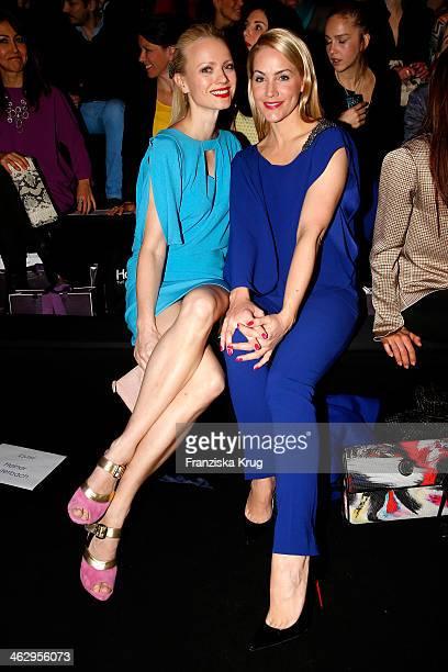 Franziska Knuppe and Judith Rakers attend the Laurel show during MercedesBenz Fashion Week Autumn/Winter 2014/15 at Brandenburg Gate on January 16...
