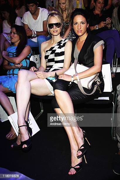 Franziska Knuppe and Minu BaratiFischer sit in front row at the Designer for Tomorrow Show during MercedesBenz Fashion Week Berlin Spring/Summer 2012...