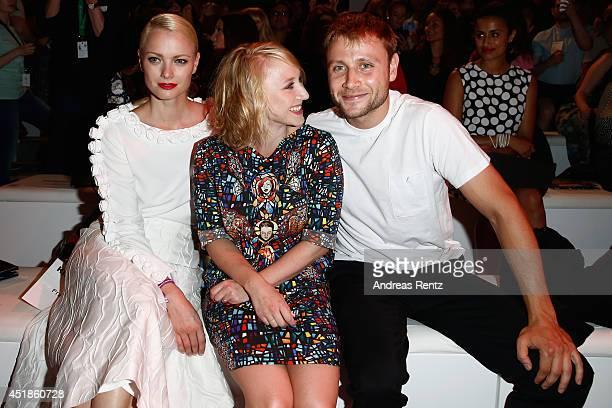 Franziska Knuppe Anna Maria Muehe and Max Riemelt attend the Kilian Kerner show during the MercedesBenz Fashion Week Spring/Summer 2015 at Erika Hess...