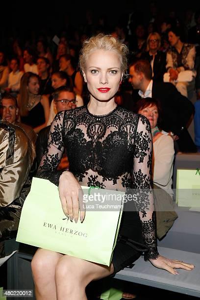 Franziska Knuppe attends the Ewa Herzog show during the MercedesBenz Fashion Week Berlin Spring/Summer 2016 at Brandenburg Gate on July 10 2015 in...
