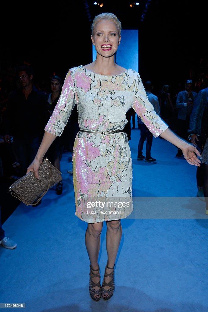Franziska Knuppe attends the Kilian Kerner show during Mercedes-Benz Fashion Week Spring/Summer 2014 at Brandenburg Gate on July 2, 2013 in Berlin, Germany.