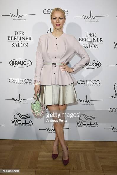 Franziska Knuppe attends the Marina Hoermanseder show as part of Der Berliner Mode Salon during the MercedesBenz Fashion Week Berlin Autumn/Winter...