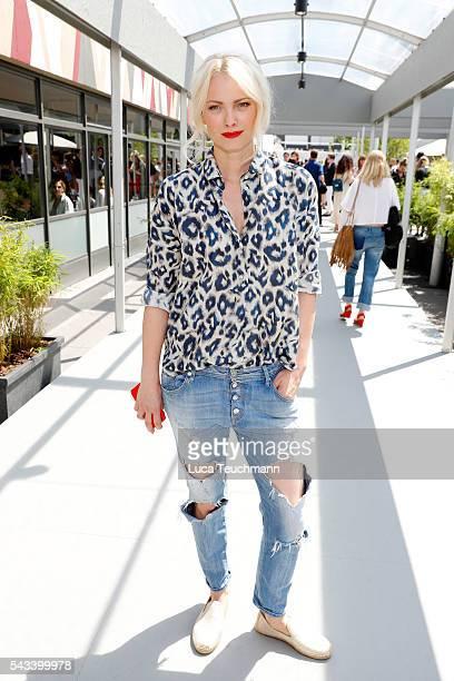 Franziska Knuppe attends the Steinrohner show during the MercedesBenz Fashion Week Berlin Spring/Summer 2017 at Erika Hess Eisstadion on June 28 2016...
