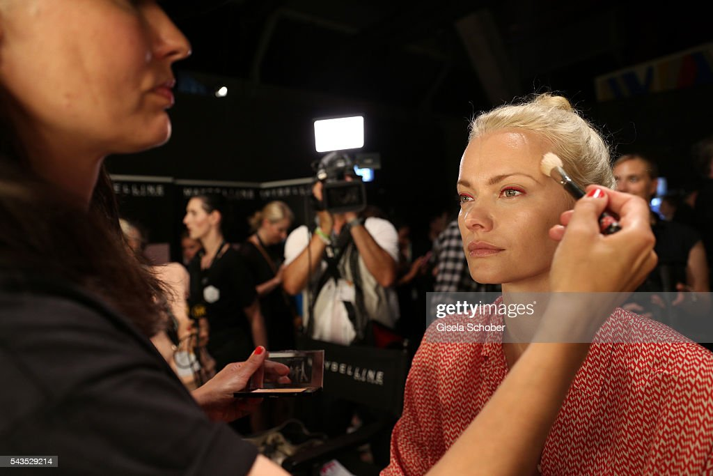 Franziska Knuppe gets prepared backstage ahead of the Minx by Eva Lutz show during the MercedesBenz Fashion Week Berlin Spring/Summer 2017 at Erika...