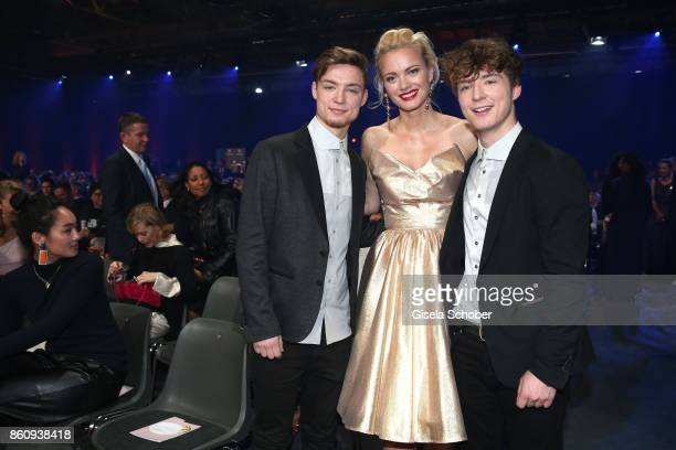 Franziska Knuppe Heiko Lochmann and his twin brother Roman Lochmann die Lochis during the 'Tribute To Bambi' gala at Station on October 5 2017 in...