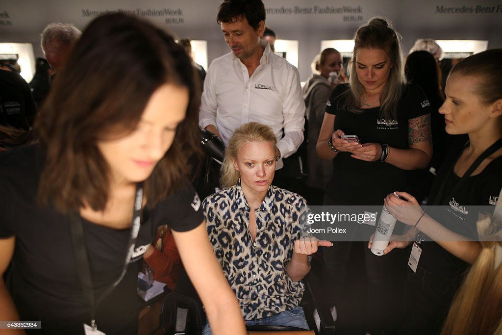 <a gi-track='captionPersonalityLinkClicked' href=/galleries/search?phrase=Franziska+Knuppe&family=editorial&specificpeople=209268 ng-click='$event.stopPropagation()'>Franziska Knuppe</a> is seen backstage ahead of the Ewa Herzog show during the Mercedes-Benz Fashion Week Berlin Spring/Summer 2017 at Erika Hess Eisstadion on June 28, 2016 in Berlin, Germany.