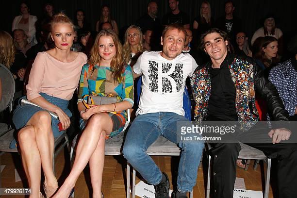 Franziska Knuppe Jella Haase Max Riemelt and RJ Mitte attend the Kilian Kerner show during the MercedesBenz Fashion Week Berlin Spring/Summer 2016 at...