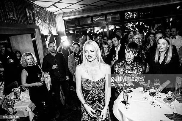 Franziska Knuppe Killian Kerner Lina Eulitz and guests attend the 40th birthday party of Franziska Knuppe on December 06 2014 in Berlin Germany