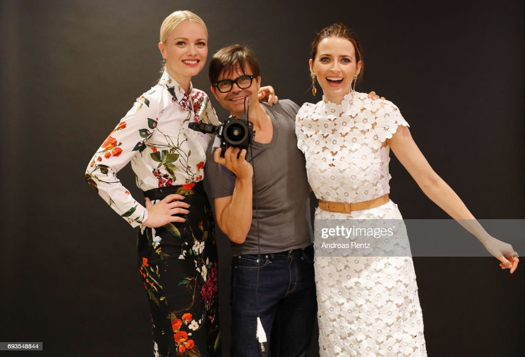 Franziska Knuppe, Kristian Schuller and Eva Padberg attend the pre-opening party 'Saks OFF 5TH' at Carsch Haus on June 7, 2017 in Duesseldorf, Germany.