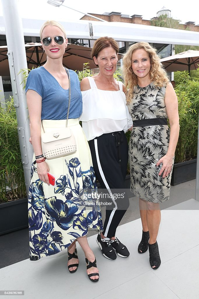 <a gi-track='captionPersonalityLinkClicked' href=/galleries/search?phrase=Franziska+Knuppe&family=editorial&specificpeople=209268 ng-click='$event.stopPropagation()'>Franziska Knuppe</a>, Minx Fashion Designer Eva Lutz and <a gi-track='captionPersonalityLinkClicked' href=/galleries/search?phrase=Katja+Burkard&family=editorial&specificpeople=228035 ng-click='$event.stopPropagation()'>Katja Burkard</a> arrive to the 'Designer for Tomorrow' during the Mercedes-Benz Fashion Week Berlin Spring/Summer 2017 at Erika Hess Eisstadion on June 30, 2016 in Berlin, Germany.