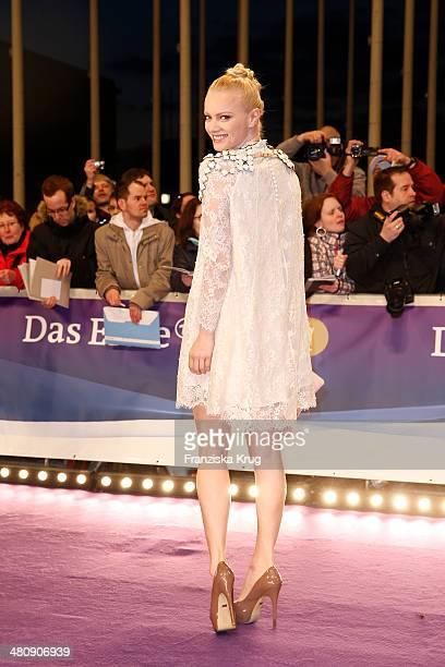 Franziska Knuppe poses on the red carpet prior the Echo award 2014 on March 27 2014 in Berlin Germany