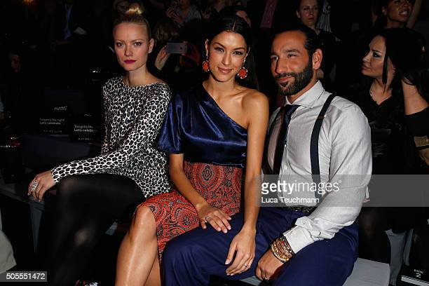 Franziska Knuppe TV host Rebecca Mir and Massimo Sinato attend the 'The Power Of Colors MAYBELLINE New York MakeUp Runway' show during the...