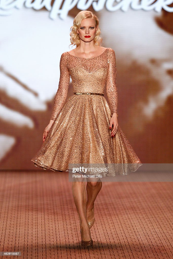 <a gi-track='captionPersonalityLinkClicked' href=/galleries/search?phrase=Franziska+Knuppe&family=editorial&specificpeople=209268 ng-click='$event.stopPropagation()'>Franziska Knuppe</a> walks the runway at Lena Hoschek show during Mercedes-Benz Fashion Week Autumn/Winter 2014/15 at Brandenburg Gate on January 14, 2014 in Berlin, Germany.
