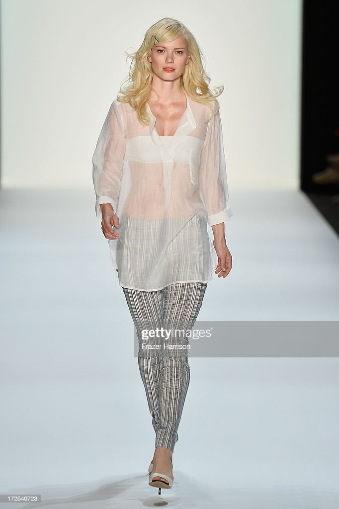 Franziska Knuppe walks the runway at Minx By Eva Lutz show during Mercedes-Benz Fashion Week Spring/Summer 2014 at Brandenburg Gate on July 3, 2013 in Berlin, Germany.