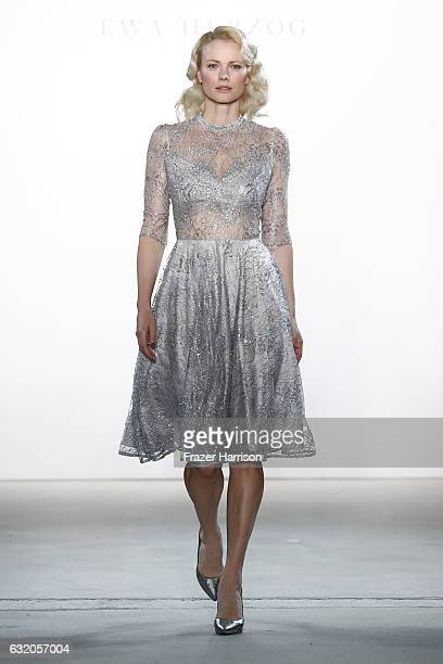 Franziska Knuppe walks the runway at the Ewa Herzog show during the MercedesBenz Fashion Week Berlin A/W 2017 at Kaufhaus Jandorf on January 19 2017...