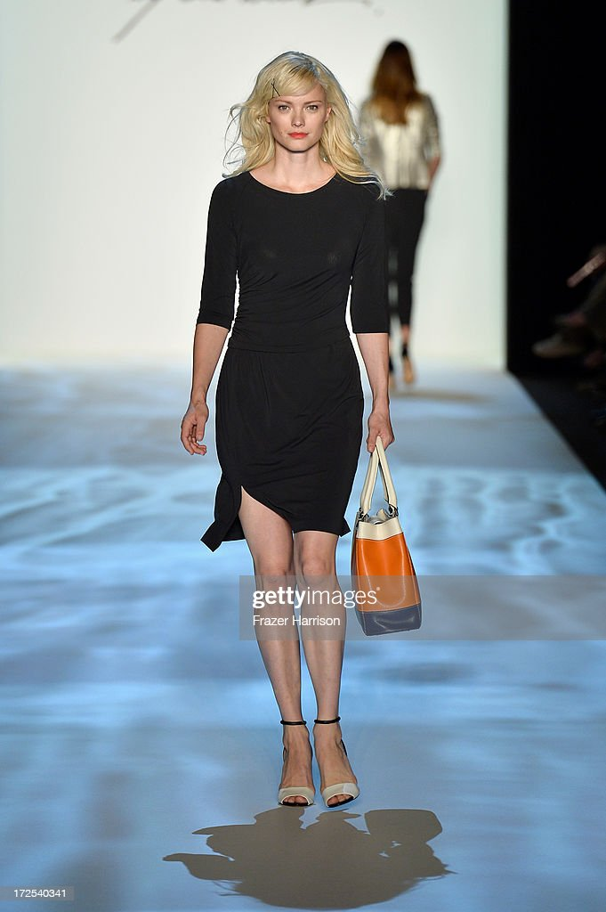 Franziska Knuppe walks the runway at the Minx By Eva Lutz show during Mercedes-Benz Fashion Week Spring/Summer 2014 at Brandenburg Gate on July 3, 2013 in Berlin, Germany.
