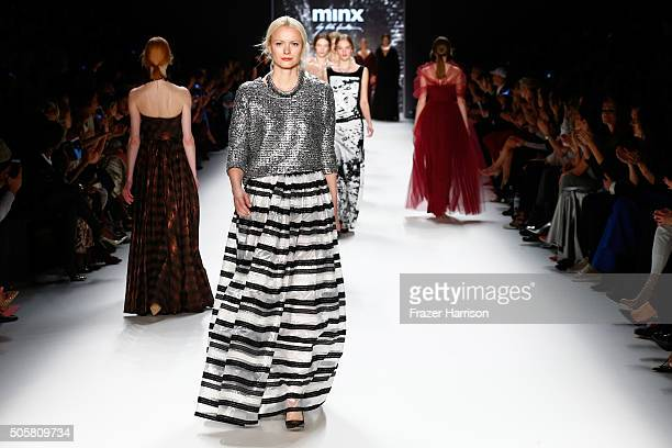 Franziska Knuppe walks the runway at the Minx by Eva Lutz show during the MercedesBenz Fashion Week Berlin Autumn/Winter 2016 at Brandenburg Gate on...