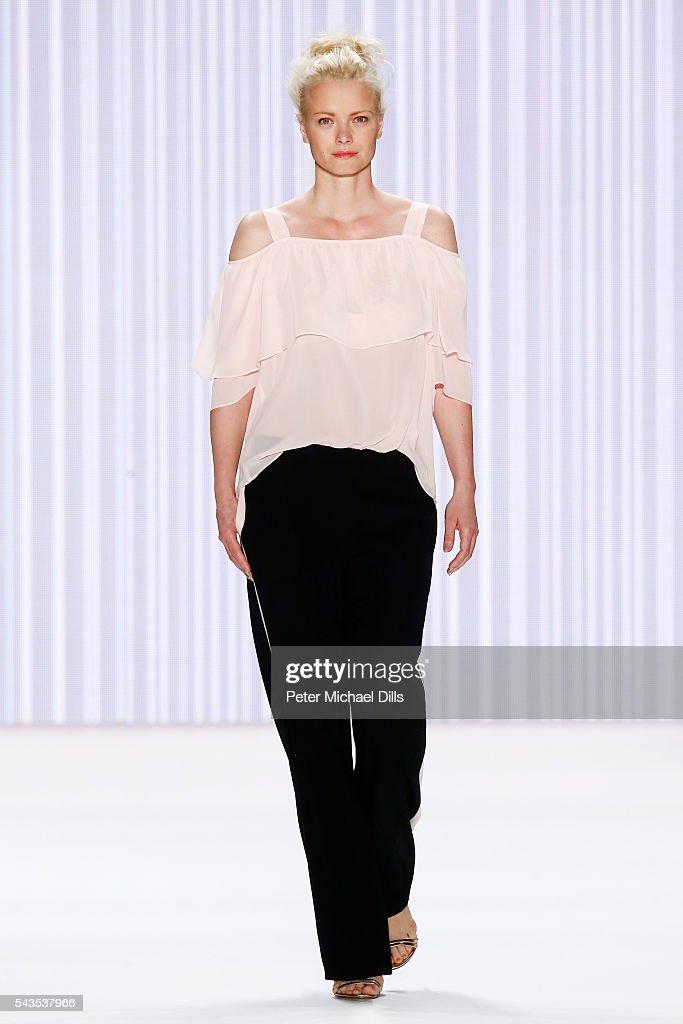Franziska Knuppe walks the runway at the Minx by Eva Lutz show during the MercedesBenz Fashion Week Berlin Spring/Summer 2017 at Erika Hess...