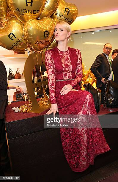 Franziska Knuppe wearing a dress by Aigner during the 50th Anniversary of AIGNER on April 16 2015 in Munich Germany