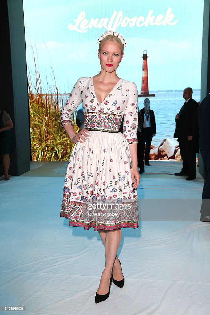 <a gi-track='captionPersonalityLinkClicked' href=/galleries/search?phrase=Franziska+Knuppe&family=editorial&specificpeople=209268 ng-click='$event.stopPropagation()'>Franziska Knuppe</a> wearing a dress by Lena Hoschek during the Lena Hoschek show during the Mercedes-Benz Fashion Week Berlin Spring/Summer 2017 at Erika Hess Eisstadion on June 30, 2016 in Berlin, Germany.