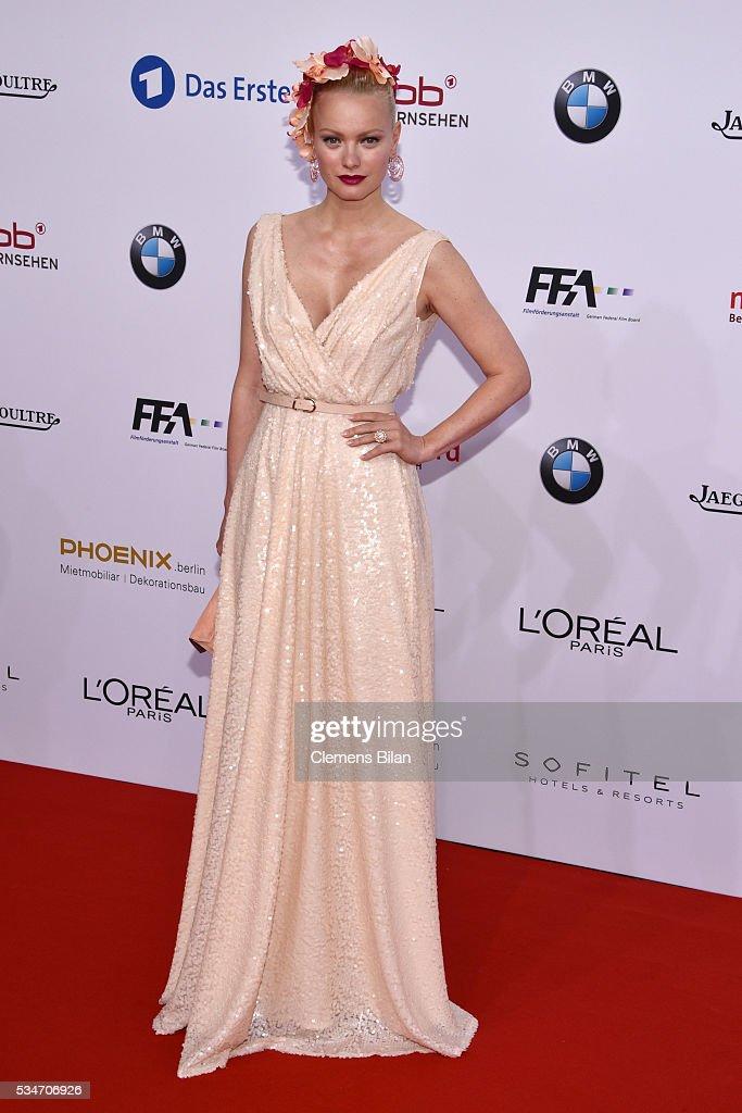 Franziska Knuppe wearing a dress by Minx by Eva Lutz attends the Lola German Film Award on May 27 2016 in Berlin Germany
