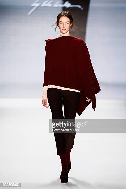 Franziska Müller walks the runway at the Minx by Eva Lutz show during the MercedesBenz Fashion Week Berlin Autumn/Winter 2016 at Brandenburg Gate on...