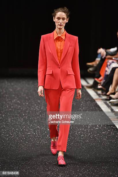 Franziska Mueller walks the runway at the Marc Cain fashion show A/W 2017 on January 17 2017 in Berlin Germany