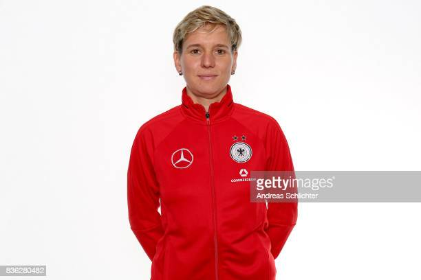 Franziska Pohl poses during Germany U17 Girl's Team Presentation on August 20 2017 in Gruenberg Germany