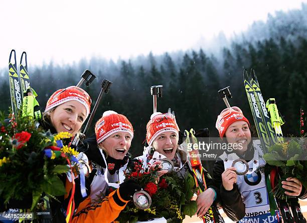 Franziska Preuss Franziska Hildebrand Vanessa Hinz and Laura Dahlmeier of Germany celebrate third place in the IBU Biathlon World Cup Women's Relay...