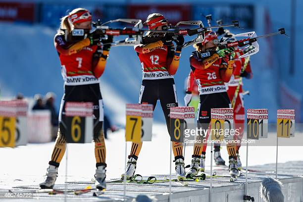 Franziska Preuss of Germany competes during the IBU Biathlon World Cup Men's and Women's Mass Start on December 21 2014 in Pokljuka Slovenia